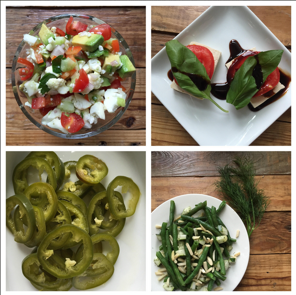 Caprese, ceviche, jalapenos, dilled green beans